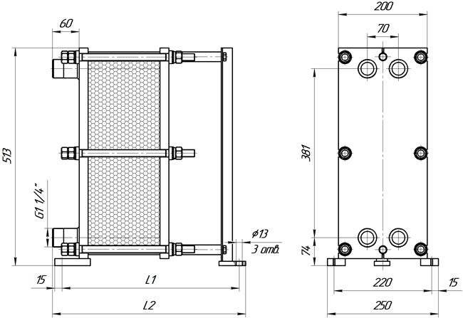 Габаритные размеры теплообменника Этра ЭТ-004-23