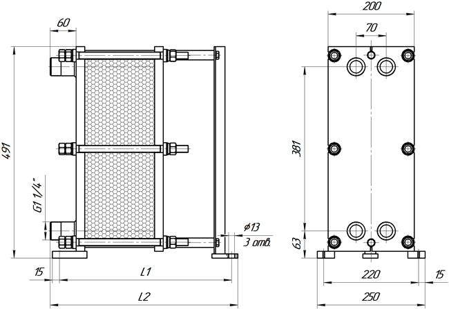 Габаритные размеры теплообменника Этра ЭТ-005-73