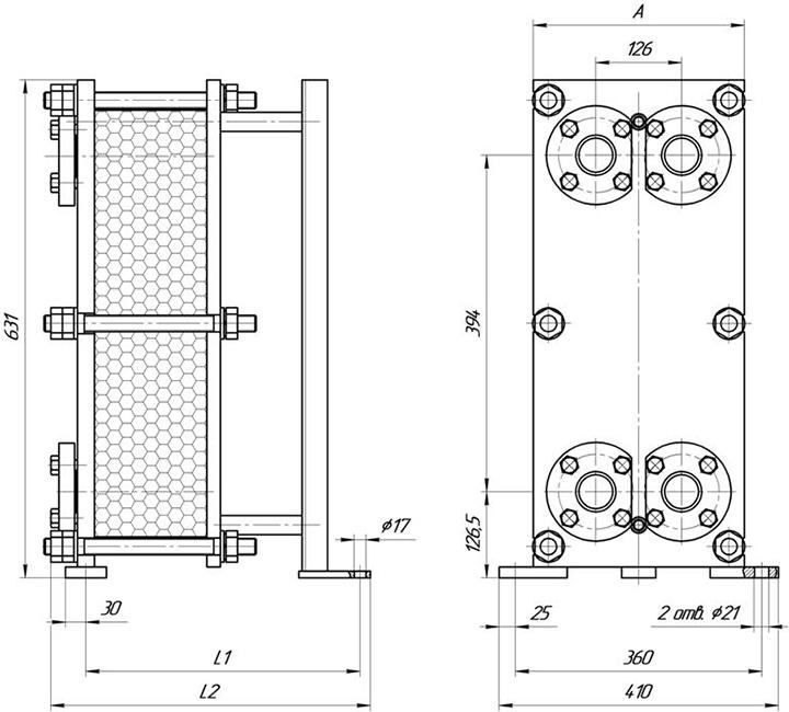 Габаритные размеры теплообменника Этра ЭТ-007c-13