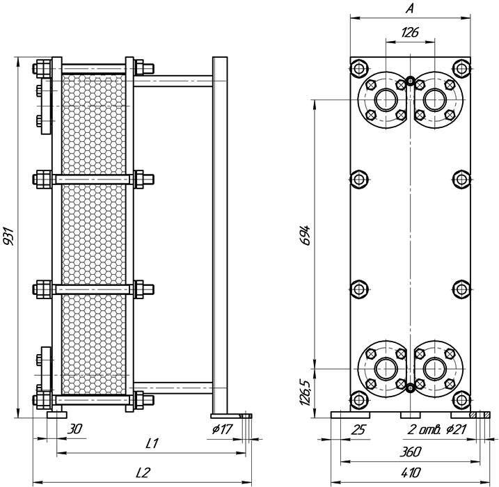 Габаритные размеры теплообменника Этра ЭТ-014c-117