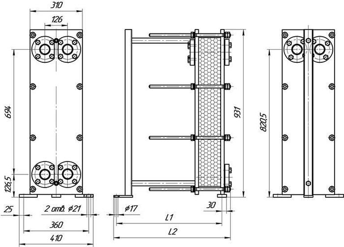 Габаритные размеры теплообменника Этра ЭТ-016-моноблок-03