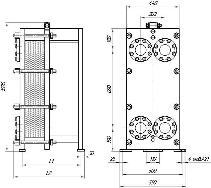 Габаритные размеры теплообменника Этра ЭТ-019-95