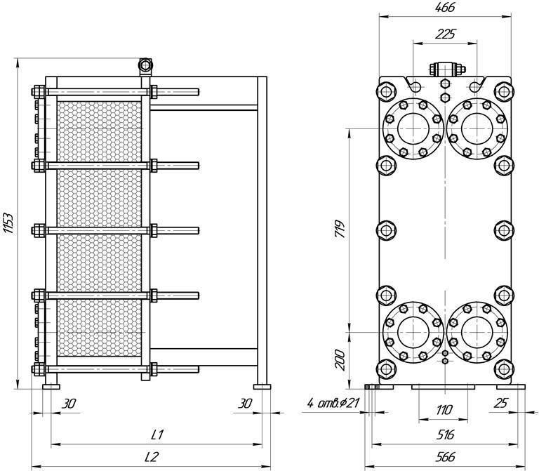 Габаритные размеры теплообменника Этра ЭТ-0205-385