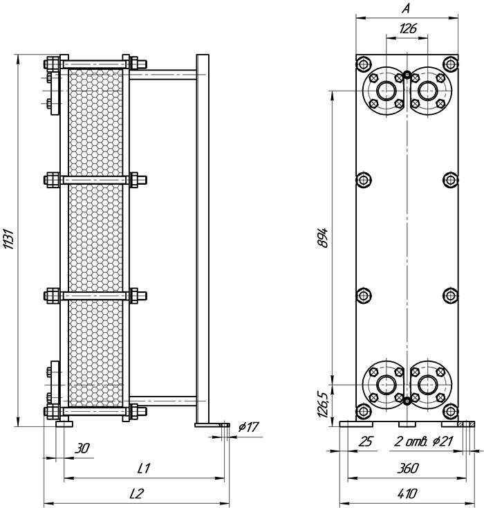Габаритные размеры теплообменника Этра ЭТ-020с-39