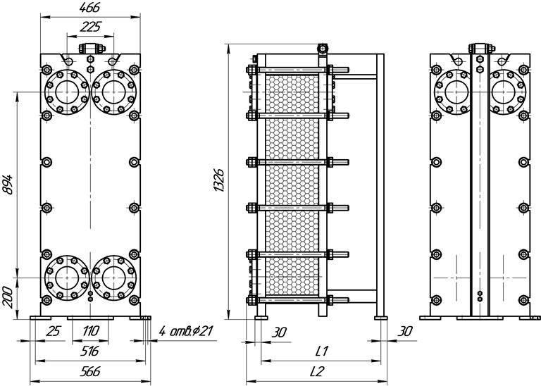 Габаритные размеры теплообменника Этра ЭТ-031-моноблок-03