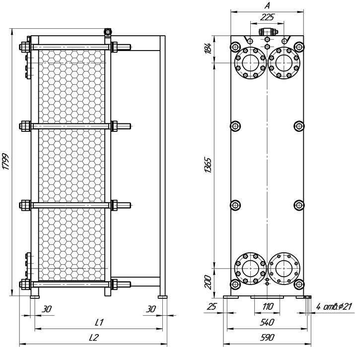 Габаритные размеры теплообменника Этра ЭТ-047с-03