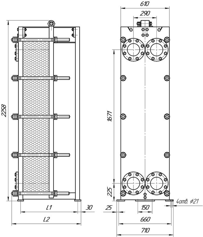 Габаритные размеры теплообменника Этра ЭТ-080-63