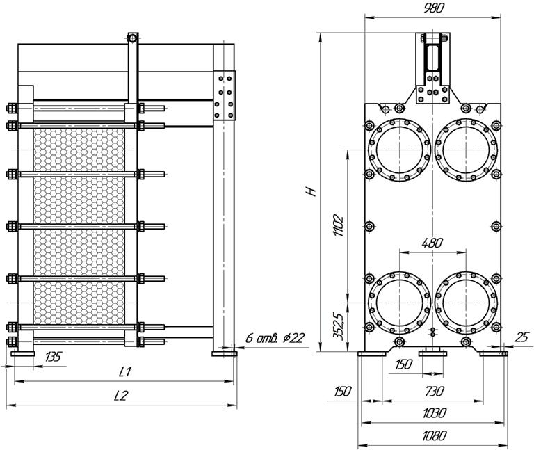 Габаритные размеры теплообменника Этра ЭТ-220с-03