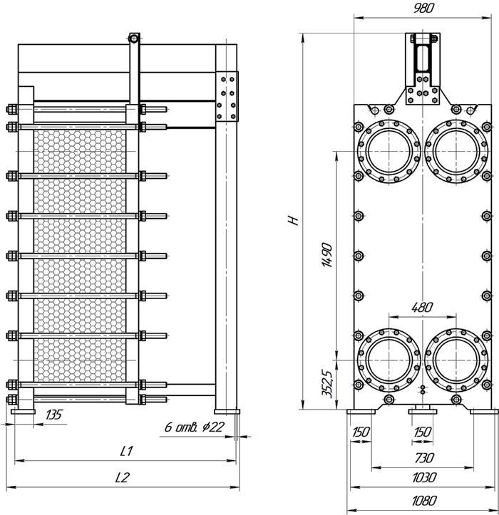 Габаритные размеры теплообменника Этра ЭТ-120-03