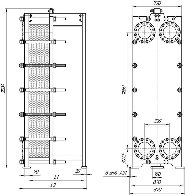 Габаритные размеры теплообменника Этра ЭТ-130-03