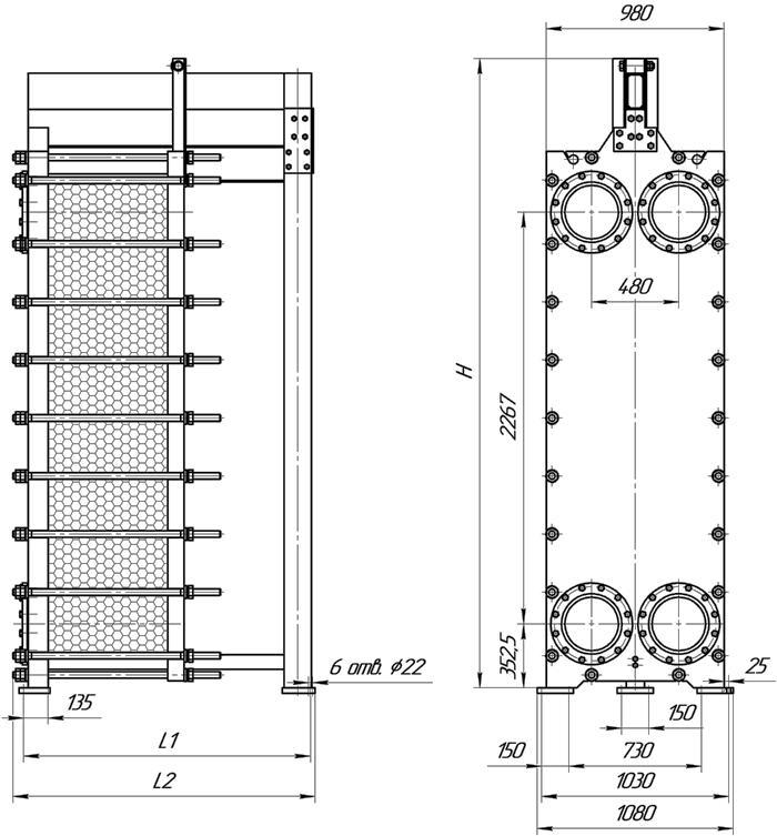 Габаритные размеры теплообменника Этра ЭТ-190-03
