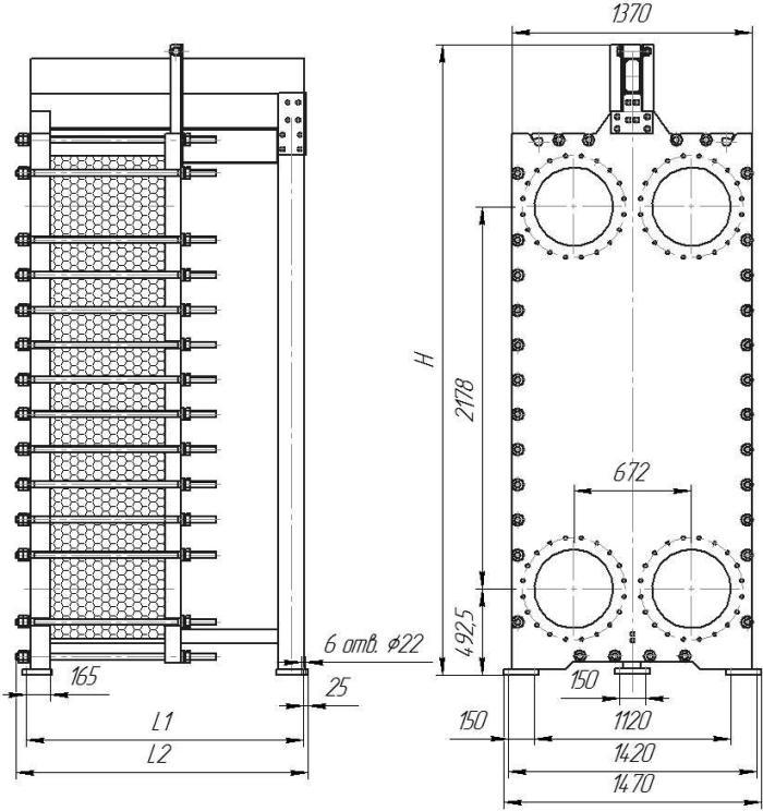 Габаритные размеры теплообменника Этра ЭТ-250-03