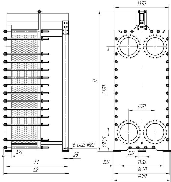 Габаритные размеры теплообменника Этра ЭТ-251с-03