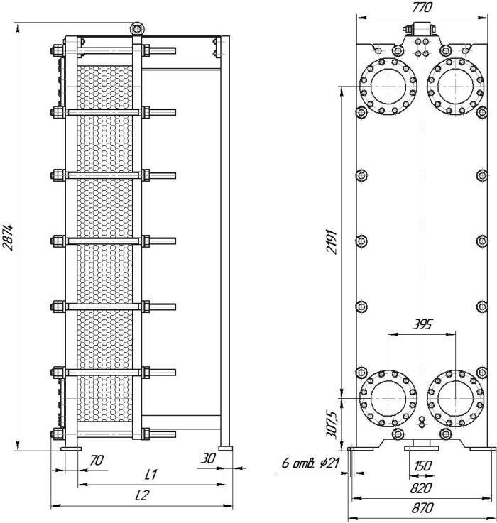 Габаритные размеры теплообменника Этра ЭТ-150-03
